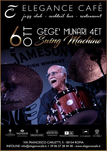 La batteria di Gegé Munari dal vivo all'Elegance Cafè
